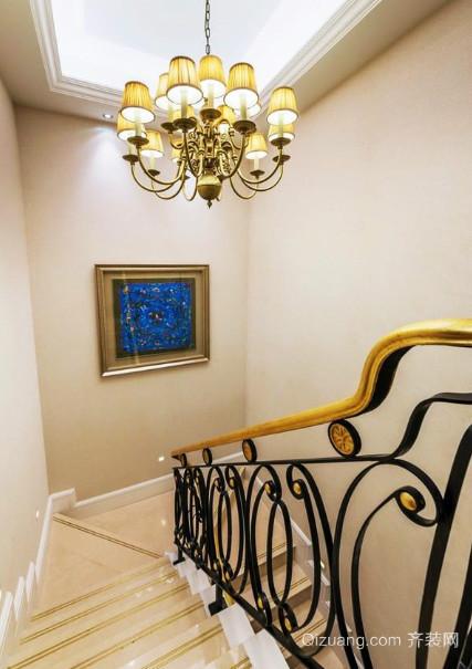 奢华欧式宫廷别墅实木楼梯装修效果图