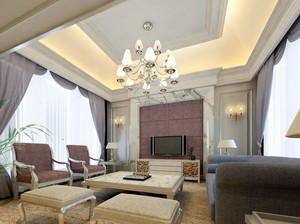 90平米大户型时尚都市客厅石膏线装修效果图