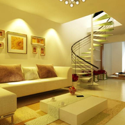 复式楼暖色调客厅