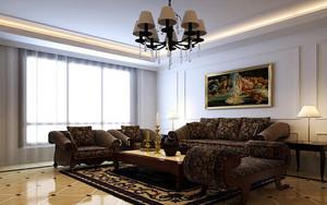 2015三居室现代精致客厅沙发背景墙装修效果图