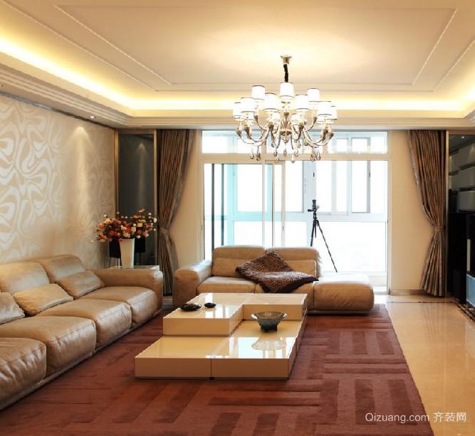 欧式风格大户型客厅背景墙装修效果图