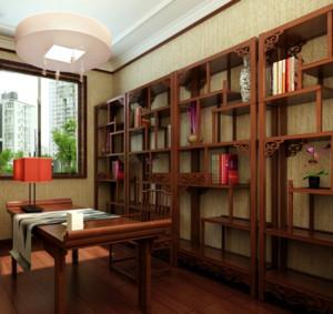 典雅新中式三室一厅书房吊顶装修效果图