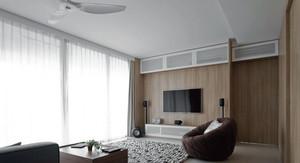 90平米日式简约客厅电视墙装修效果图
