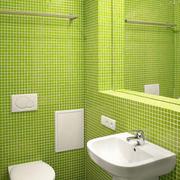 卫生间绿色背景墙