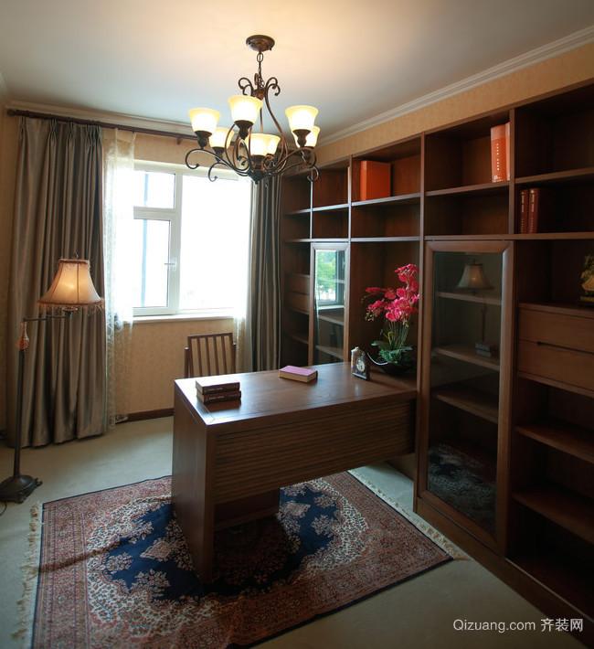 精致典范大户型木色书房设计装修效果图