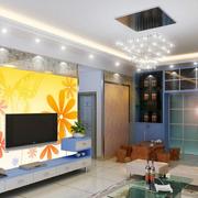 彩色时尚的电视墙