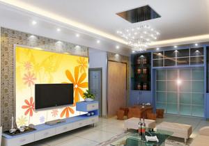 2015大户型现代简约电视背景墙装修效果图