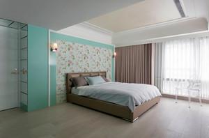 像天空一样蔚蓝的简约风格卧室背景墙装修效果图鉴赏