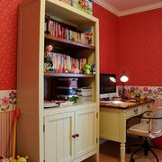 书房红色壁纸