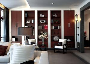 中式风格大户型客厅中式博古架装修效果图