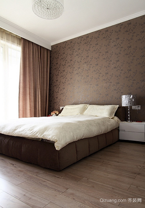 人见人爱的巧克力色都市风格卧室背景墙装修效果图