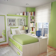 儿童房绿色榻榻米床