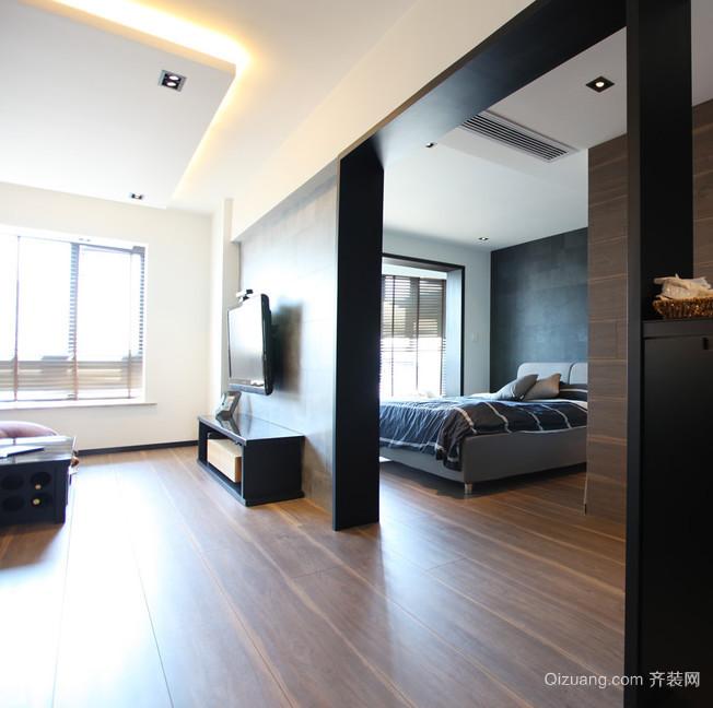 靓丽黑色都市风格卧室背景墙装修效果图鉴赏