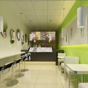 绿色清新的奶茶店