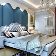 卧室床头蓝色背景