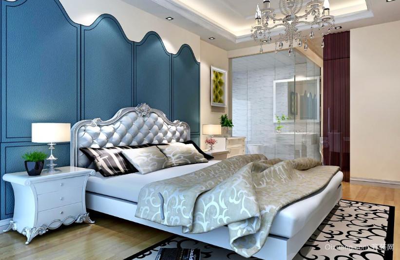 三室一厅清新地中海风格卧室装修效果图