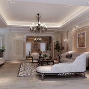 简洁客厅石膏线装潢