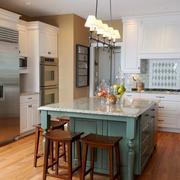 美式精致厨房青色橱柜