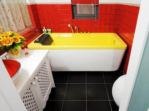 欧式风格90平米红色卫生间设计装修效果图