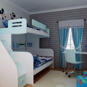 蓝色简约儿童床