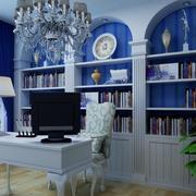 蓝白色书房装饰
