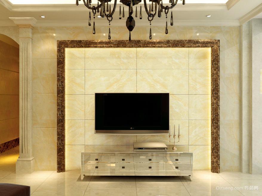 大户型新一代时尚都市客厅瓷砖背景墙装修效果图鉴赏