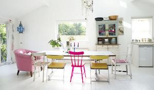 甜美可爱的粉色系清新风格餐厅背景墙装修效果图
