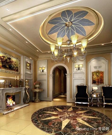 90平米欧式风情客厅圆形吊顶装修效果图