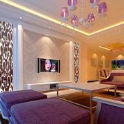 紫色浪漫客厅背景墙