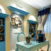 书房蓝色书柜装饰