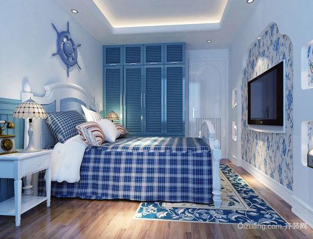蔚蓝海洋色地中海风格卧室装修效果图