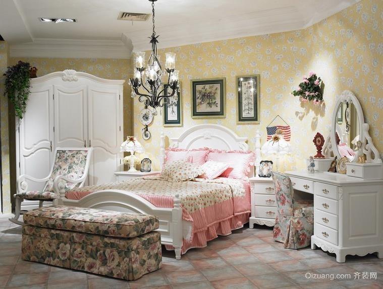 韩式清爽浅色三室两厅两卫卧室壁纸装修效果图
