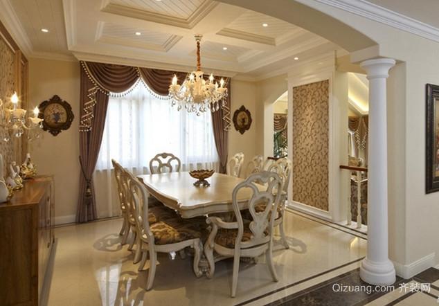 温馨奢华的欧式古典风格餐厅背景墙装修效果图欣赏