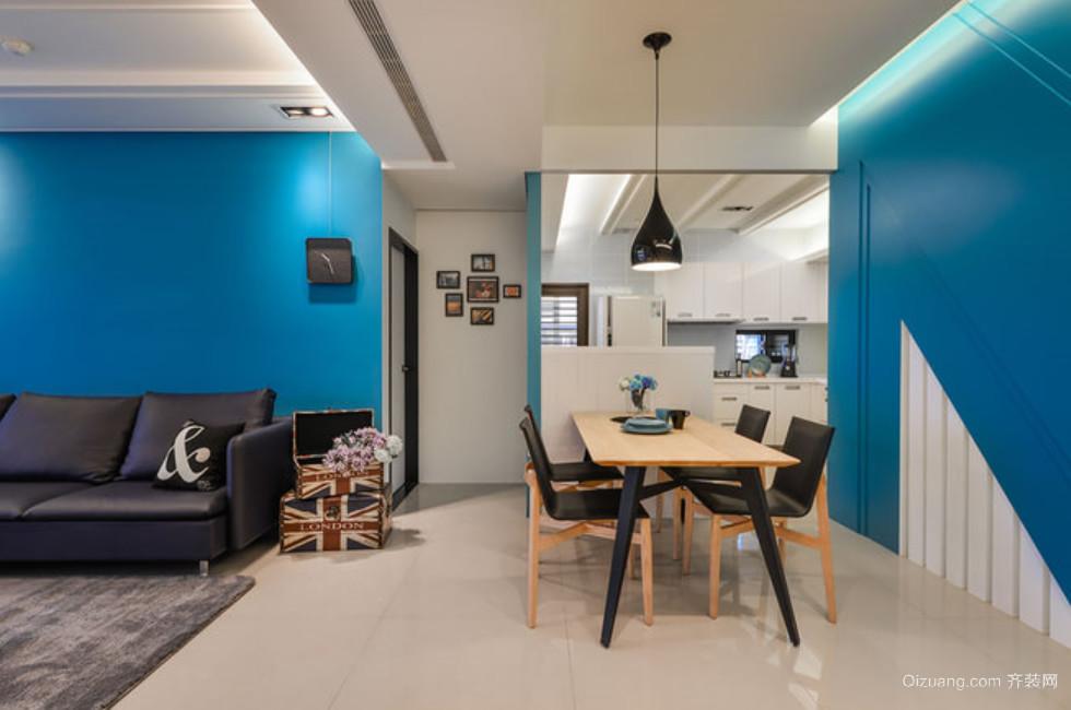 秀丽端庄的蓝色餐厅背景墙装修效果图大全