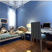 蔚蓝色卧室榻榻米床