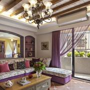 田园紫色别墅大厅
