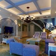 别墅大厅紫色沙发布置