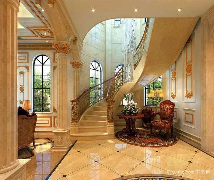 气质优雅的自建别墅楼梯扶手装修效果图