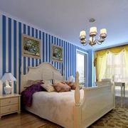 三室两厅卧室蓝白条纹