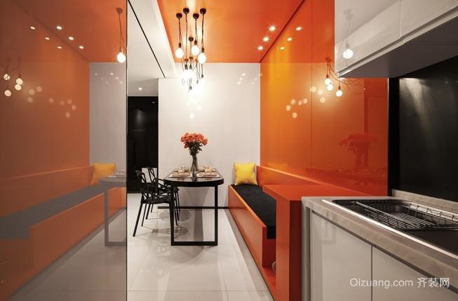暖意洋洋的橙色都市风格餐厅背景墙装修效果图
