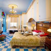 三室两厅卧室蓝白相间地板
