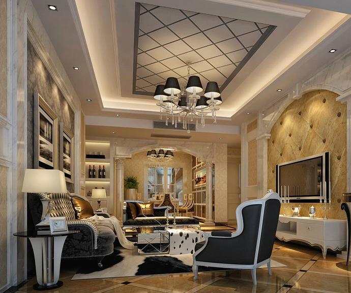 亿万富翁 简欧 别墅 客厅墙面装饰画装修效果图