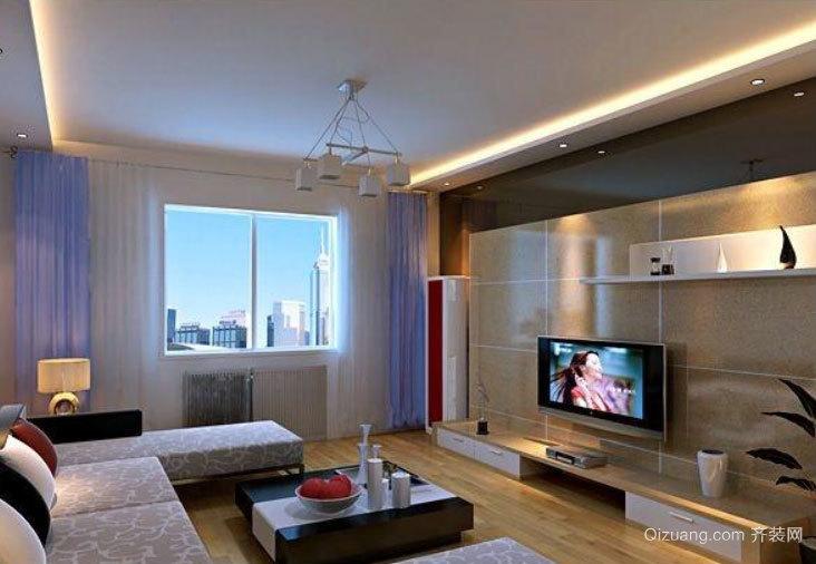 2015现代简约三居室客厅吊顶装修效果图