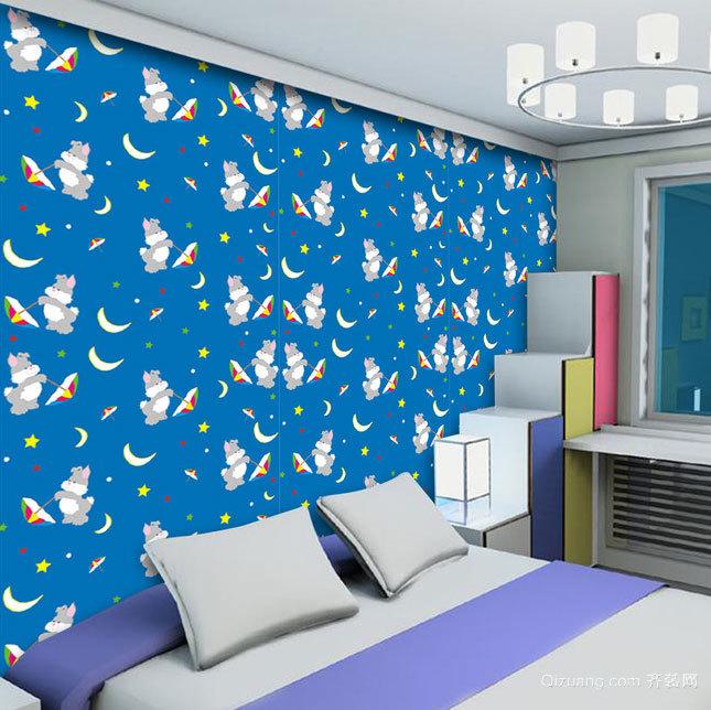 稚气十足的大户型儿童卧室卡通壁纸装修效果图