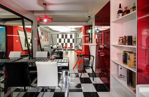明丽鲜艳的红色都市风格的餐厅背景墙装修效果图