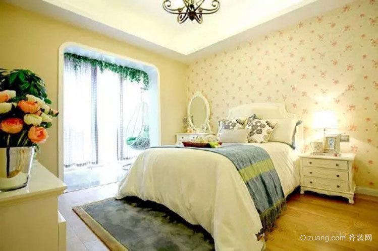 两室一厅韩式清新田园风格卧室装修效果图