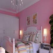 三室两厅粉色卧室墙面