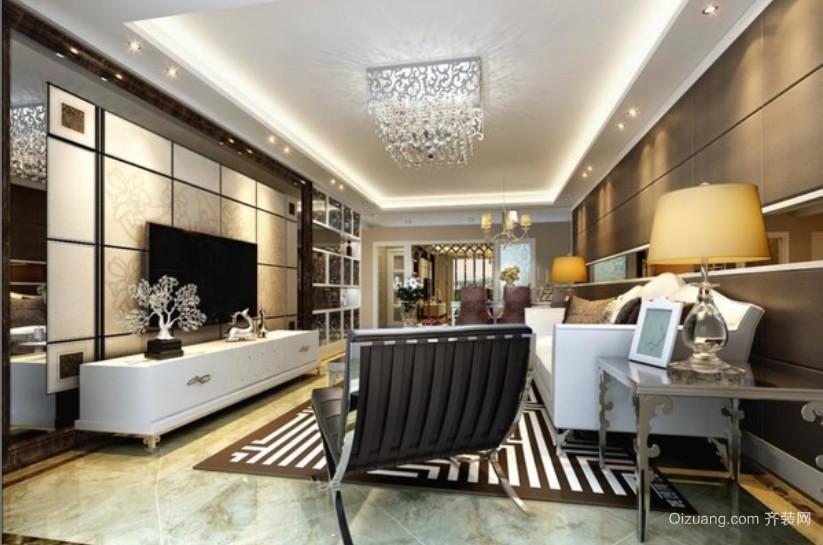 90平米交换空间现代简约风格客厅电视墙装修