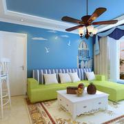 客厅转角小沙发蓝色背景