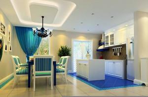 浅蓝朴素的地中海风格厨房装修效果图